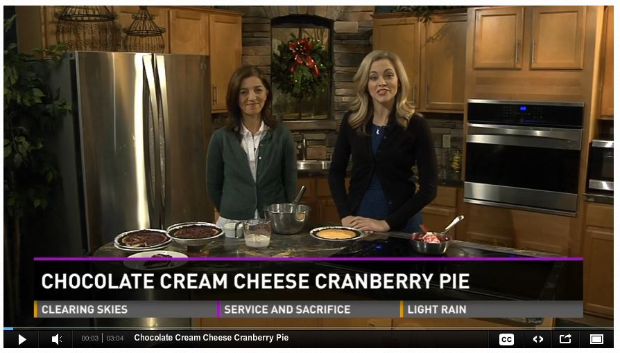 WBIR Chocolate Cream Cheese Cranberry Pie