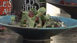 Mahasti Vafaie, owner of The Tomato Head and Flour Head Bakery, shows us how to make a healthy lunch option: Rye Berry and Winter Greens Salad.